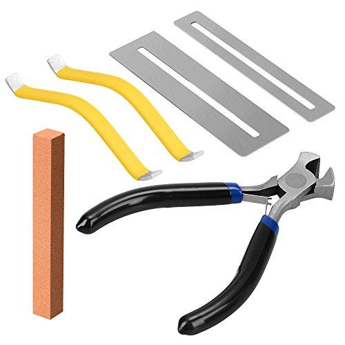 Guitarra Herramientas para Limpio y Reemplazar Guitarra Fret, Incluir Alicate, Protector de Diapasón, Piedra de Pulido y Separador de Cuerdas