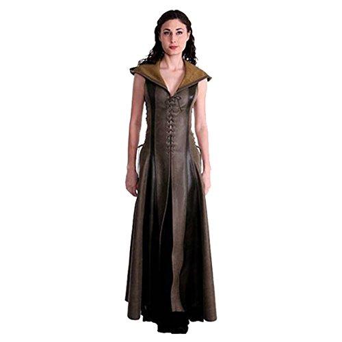 Jerho Damen Vintage Kleidung Kostüm Bogenschütze Cosplay Game of Thrones Leder mit Kapuze Langer (Kostüm Für Game Of Thrones)