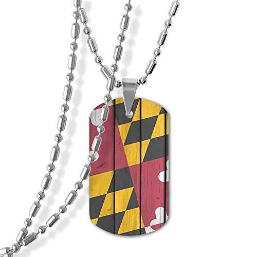 MAMA LAZCNYQL Men Maryland State Flag Wood Necklace Pendant Jewelry Army Card Dog Tag Great Gift (State Flag Dog Tag)