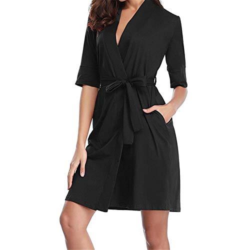 (ZIYOU Damen 1/2 Hülse Robe Weiche Kimono Bademantel Stricken Baumwolle Bademantel Loungewear Nachtwäsche(Schwarz,Medium))