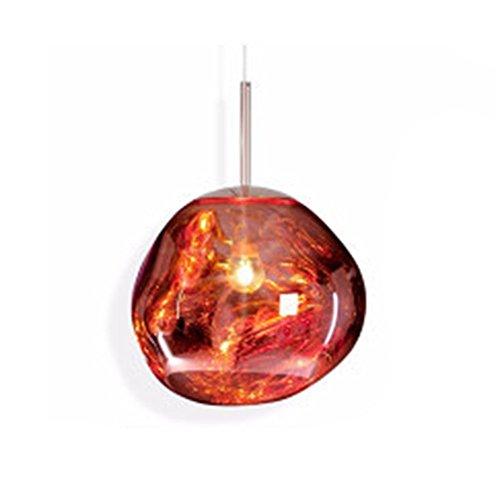MZStech Moderne lampe unregelmäßige Form Glas Pendelleuchte Kronleuchter Licht LED Hängelampe (20cm, Rot) -