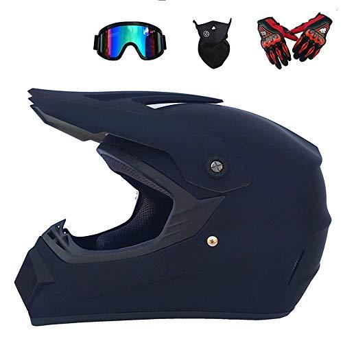 HWJF Doppelter Sport-Motocross-Helm MX-Motorradhelm ATV-Roller-Downhill-Schutzhelm D.O.T-zertifizierter Fuchs mit Brille, Handschuhe (4 Stück),1,L