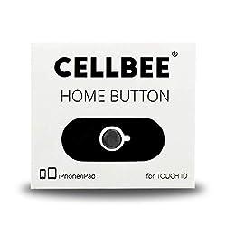 CELLBEE 1x Home Button Touch ID Sticker Kompatibel mit iPhone iPad Aufkleber Schwarz mit Schwarzem Ring 2.0 - Erhöhung bei iPhone 6 6s 7 8 Plus iPad Air Mini Panzerglas