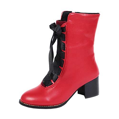 YE Damen Stiefeletten Blockabsatz Ankle Boots mit Schnürung und Reißverschluss Freizeit Stiefel...