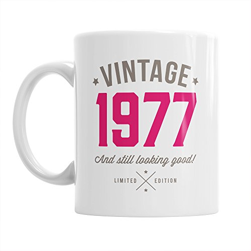 Vintage 1977 40th Birthday Mug gift Pink