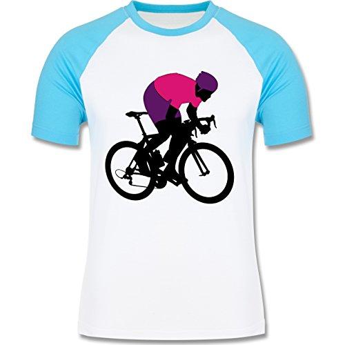 Radsport - Profi Rennradfahrer Rennrad - zweifarbiges Baseballshirt für Männer Weiß/Türkis