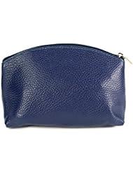 Belli «bellini «petite trousse de maquillage en cuir véritable trousse de maquillage bleu 18 x 13 x 5 cm (largeur x hauteur x profondeur)