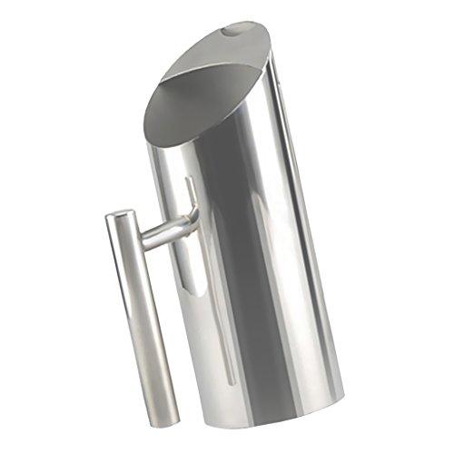 MagiDeal Edelstahl Wasserkrug Pitcherkrug Wasser Saftkrug Wasserkanne - Silber, 1.5L (Krug Mit Eis-container)