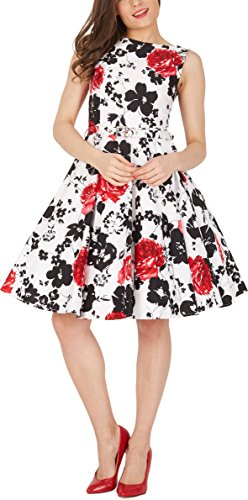 Black Butterfly Abito vintage anni '50 Audrey Serenity Bianco & Rosso