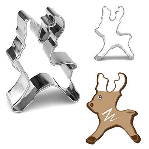 3D-Ausstechformen für Kekse, Fondant, Kekse, Kuchen, Dekoration, Edelstahl rentier ()