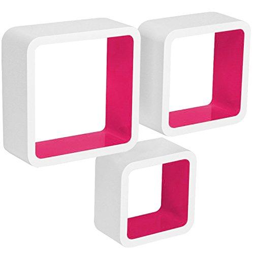 WOLTU RG9236rs Wandregal Cube CD DVD Regal Dekoregal Regalsysteme, 3er Set Retro Hängeregal Würfel, weiß-pink