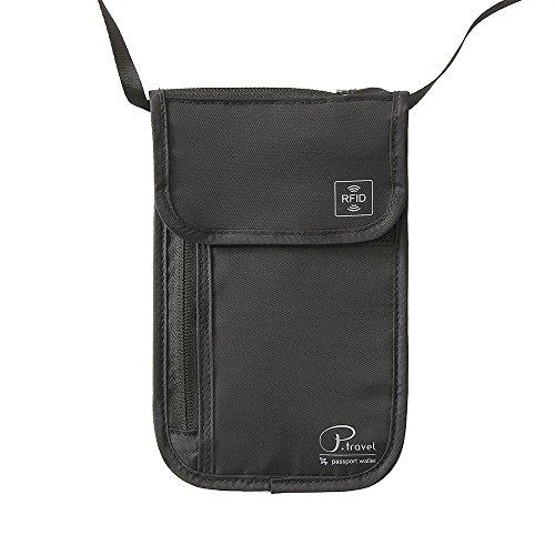 Portadocumentos de cuello Bolso de viaje para el cuello Tuscall Porta Pasaporte de cuello con bloqueo de RFID para Mujeres, Hombres y Niños