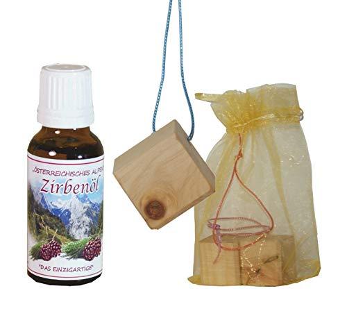 Fangomed Zirbenholz-Duftwürfelchen - 4x4x4cm - Dekor-Hängeband - im Organzabeutel - Herstellerset mit Zirben-Duftöl (Zirbenduftwürfel - 3er Set mit Dekor-Aufhängeband, mit Zirben-Öl - 20 ml)