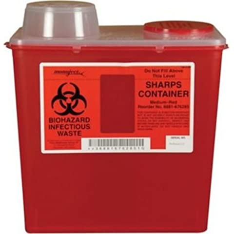 (8881676285) Monoject Multi-purpose Sharps Containers, 8 Quart, Red Base, Chimney