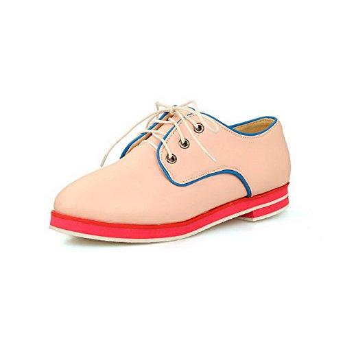 AgooLar Damen Schnüren Niedriger Absatz Weiches Material Gemischte Farbe Knöchel Hohe Stiefel, Blau, 35