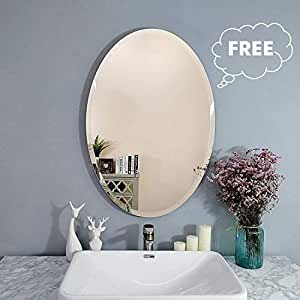 Creative Arts n Frames Exquisite Oval Frame Less Beveled Mirror for Dressing, Bedroom, Bathroom, Living Room (Silver)