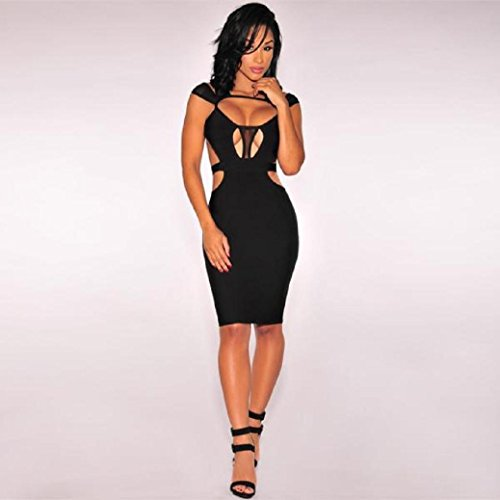 Fami Sexy Women Bandage Sleeveless Evening Cocktail Party Dresses Noir