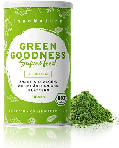 "Bio ""Green Goodness"" Superfood Shake mit 12 Superfoods (Weizengras + Gerstengras + Moringa + Chlorella + Spirulina + Kelp etc.) 300g Premium grünes Smoothie Pulver/Shake. Vegan + hergestellt in DE."