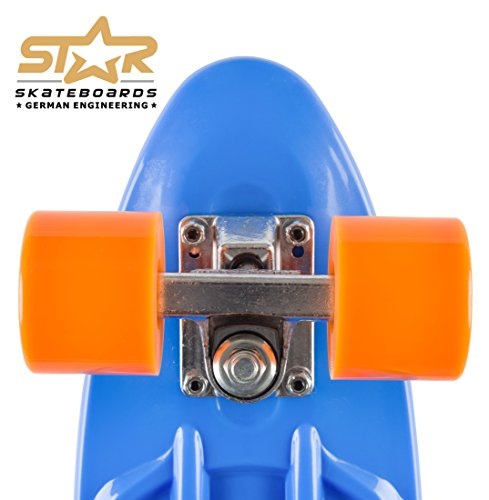 STAR-SKATEBOARDS® Vintage Cruiser Board ★ 22er Diamond Class Edition ★ Paradiesisch Blau & Sunny Orange -