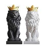 CUIAIDING Statue Sculpture De Statue De Lion Moderne avec Figurine Animale en Couronne De Couronne De Style Géométrique Maison Bureau De Bureau Miniatures De Maison & Jardin, Blanc