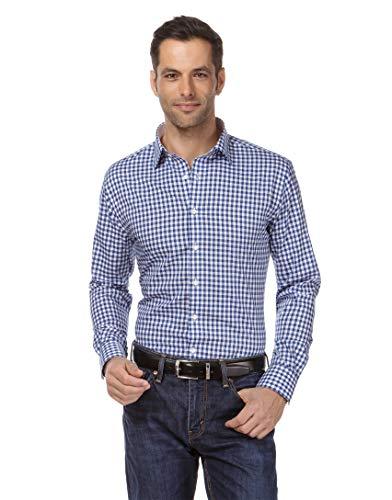 Vincenzo Boretti Herren-Hemd bügelfrei 100{cbac7cf9d7b5db74d99adfe0a563d4e132822b6f3e5600fad15994a6061b1417} Baumwolle Slim-fit tailliert kariert New-Kent Kragen - Männer lang-arm Hemden für Anzug Krawatte Business Freizeit blau 41/42