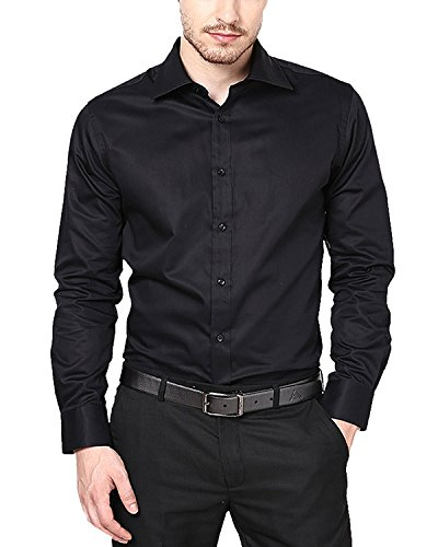SWISSCOTT Men's 100% Cotton Satin Slim Fit Party Wear Formal Shirts ( 2 Colours ) (42, Black)