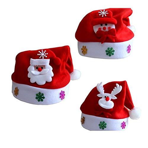 Seitor Kinder u. Erwachsener u. Weihnachtshut Weihnachtsmann Ren Schneemann Weihnachtsgeschenk Kappe armband mit 4 modelle bär, elch, schneemann, santa claus gutes spielzeug zu weihnachten (Kostüme Baby Carol)