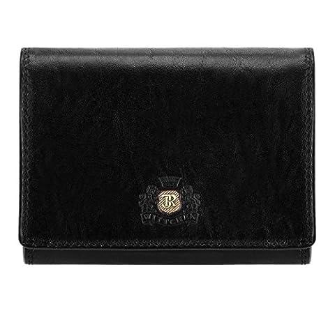 WITTCHEN Damen Geldbörse Portemonnaie, 2x12x9.5cm, Schwarz, Lackleder, Naturleder, Leder, Handmade, (12 Magische Münze)