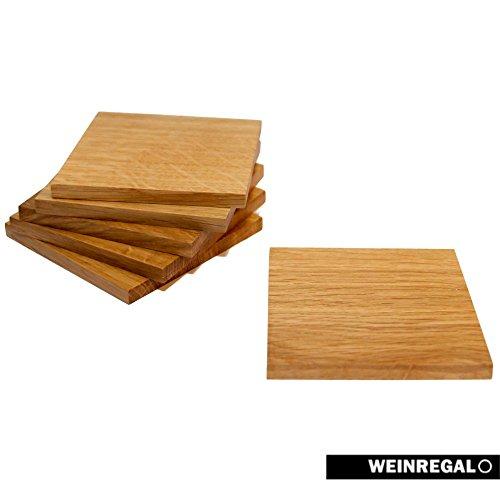 Holz Quadratischen Tisch (WEINREGALO Untersetzer Eiche | 10x10 cm für Gläser - 6er Set - Der Design Glasuntersetzer aus Holz, quadratisch und edel für Tisch und Bar)