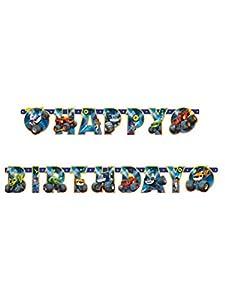 amscan Pancarta articulado Happy Birthday 180x 15cm Blaze, Multicolor, 7am9901359