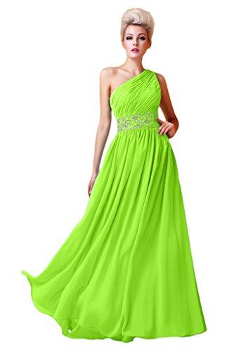 Victory Bridal Ein-traeger Chiffon Festliche Damen Abendkleider Ballkleider Partykleider Lang Neu Lemon Gruen