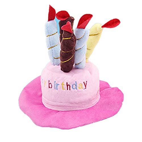 Kuiji Haustier-Geburtstagshut, süßer Hund Geburtstag Hut mit Verstellbaren bunten Kerzen für große mittelgroße Hunde und Katzen und Welpen, Party-Zubehör (Rosa)