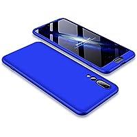 Huawei P20 Pro Hülle JINICHANGWU 360° Rundumschutz-Schale mit Gratis Panzerglas Anti-Kratzer Handyhülle Schutzhülle Case (Blau)