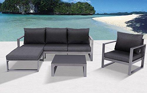 """Aluminium Lounge """"Bella Anthrazit"""", flexibel einsetzbar mit wasserabweisender Kissen, Mandalika Garden"""