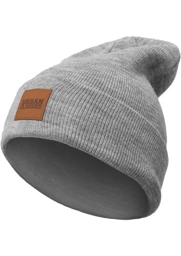 Urban Classics TB626 Unisex Strickmütze Leatherpatch Long Beanie Grey, One size (Herstellergröße: one size)
