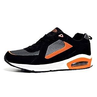 Mens Shock Absorbing Running Shoe Trainers Jogging Gym Fitness Trainer New Shoes (Black/Grey/Orange, Mens UK 10)