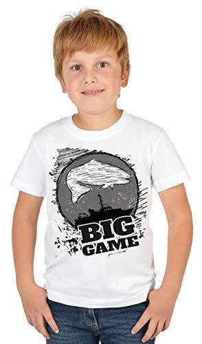 Hochseeangeln Kinder Angler T-Shirt, Kinder-Shirt Motiv Angel-Sport : Big Game,- Bekleidung Kinder Angeln, Coole Sprüche Gr: L = 146-152
