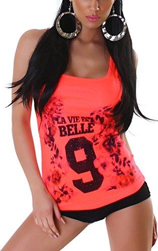 Voyelles Damen College-Style Feinripp Stretch Tank-Top Sommer-Shirt Blumen-Motiv, Spruch & Glitzer (Einheitsgröße 32 34 36 38) Leuchtendes Apricot