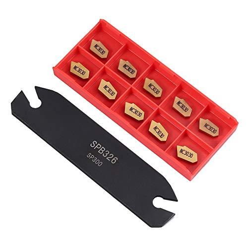 Cut Off Blade (SPB26-3 26mm Trennmesser Stecheinsätze Part Off Blade Grooving Tool Cut-Off Rilleneinsätze Werkzeughalter Holder Abstechen Schneidplatte Halter mit 10 x GTN-3 SP300 Insert)