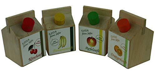 Apfelsaft, Bananensaft, Kirschsaft, Orangensaft kleine Fruchtsafttüten aus Holz