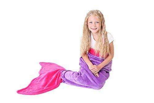 Meerjungfrauenschwanz Decke - Super Weich & Warm polares Vliesgewebe Decke von Cuddly Blankets - Perfektes Geschenk für Kinder und Jugendliche (3-12 Jahre) (Dunkel Violett & Dunkel Rosa) (Dunkle Meerjungfrau Kostüm)