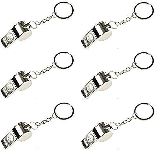 Lg-Imports 6X Trillerpfeife Schlüsselanhänger Signalpfeife Fussball Mitgebsel Metall Silber