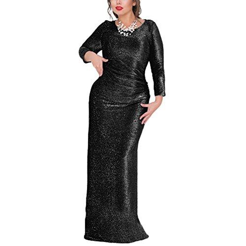 iBaste Damen Elegant Lang Paillettenkleid Abendkleid Maxikleid Cocktailkleid mit Stretch Partykleid