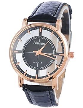 Souarts Damen Schwarz Klar Zifferblatt Armbanduhr Quartzuhr Analog mit Batterie