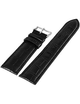 Leder Uhrenarmband Uhrenband Uhrband Ersatzband Armband schwarz mit Nahtfarbe schwarz und Kroko-Optik Prägung...