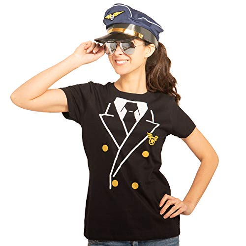 Piloten Karneval Kostüm Damen Shirt + Brille + Hut Frauen T-Shirt Slim Fit Large ()