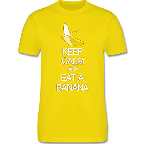 Keep calm - Keep calm and eat a banana - Herren Premium T-Shirt Lemon Gelb