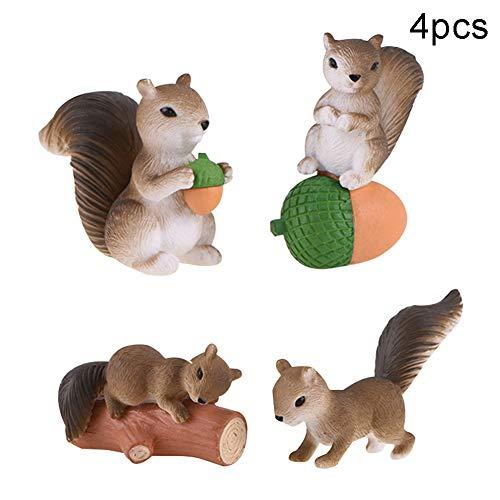 HshDUti Bonsai Ornamente Weihnachtsdekoration Miniatur 4 Stück Mini Eichhörnchen Figur Miniatur Fairy Garden- Grau 4tlg -