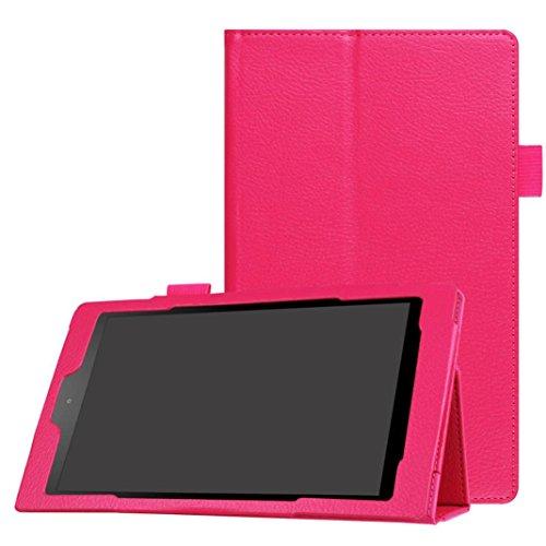 Vovotrade Copertura del basamento del cuoio conveniente pratiche in foglio di caso per Amazon Fuoco HD 8 (Rosa caldo) - Custodia Regalo Personalizzato Scheda