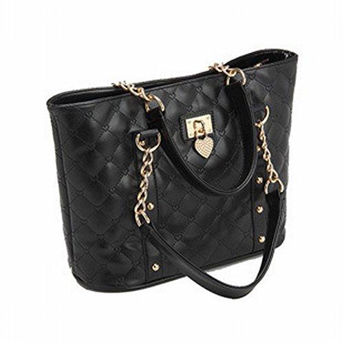 Weibliche Handtasche Große Öltücher Umhängetasche Frauen Tasche Bucket Type Messenger Bag , schwarz